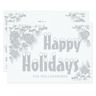 Silver Happy Holidays Typography Card