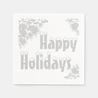 Silver Happy Holidays Typography Disposable Napkin