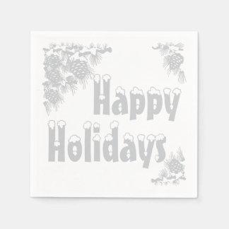 Silver Happy Holidays Typography Napkin