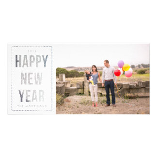 Silver Happy New Year Faux Glitter on White Photo Greeting Card