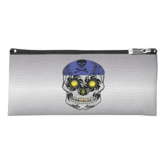 Silver Harley Biker Candy Skull Pencil Case