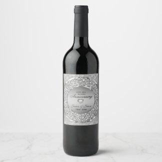 Silver Heart And White Diamonds Wine Label