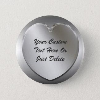 Silver Heart Frame Button Pin