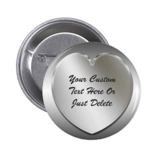 Silver Heart Frame Button Pin