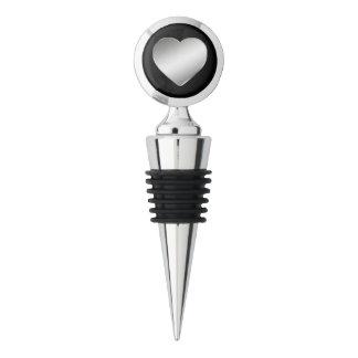 Silver Heart Monogram Wine Stopper