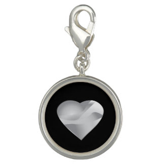 Silver Heart on Black Charms