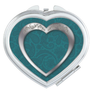 Silver Heart on Teal - Heart Compact Mirror