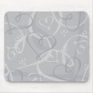Silver heart pattern mouse pad