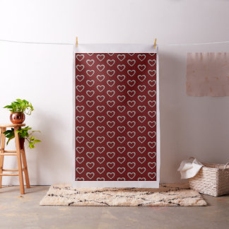 Silver Heart Pattern Red Color Fabric