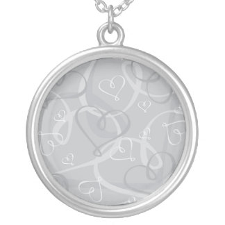 Silver heart pattern silver plated necklace