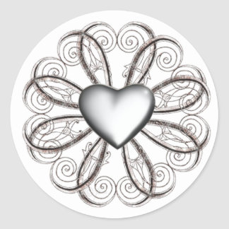 Silver Heart Stickers