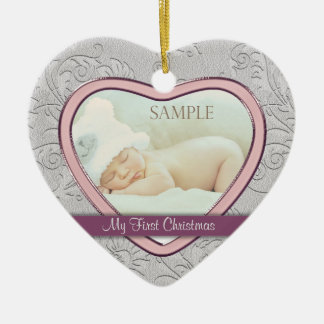 Silver Heart Swirl Baby Girl First Christmas Ceramic Heart Ornament