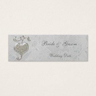 Silver Heart Thank You Wedding Favor Tag Mini Business Card