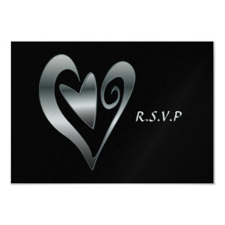 "Silver Hearts Black Wedding RSVP 3.5"" X 5"" Invitation Card"