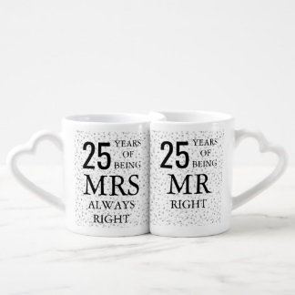 Silver Hearts Confetti 25th Anniversary Coffee Mug Set