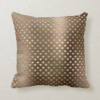 Silver Hearts Gray Metallic Maroon Sepia Throw Pillow
