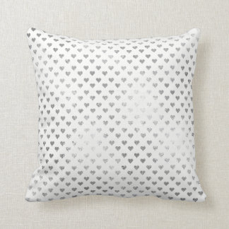 Silver Hearts Gray White Delicate Geometric Glam Throw Pillow
