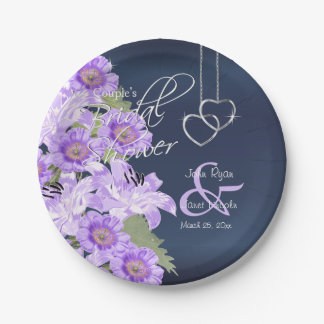Silver Hearts on Lavender & Navy Satin 7 Inch Paper Plate