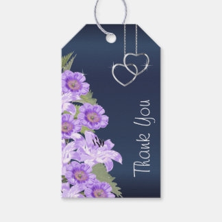 Silver Hearts on Lavender & Navy Satin Gift Tags