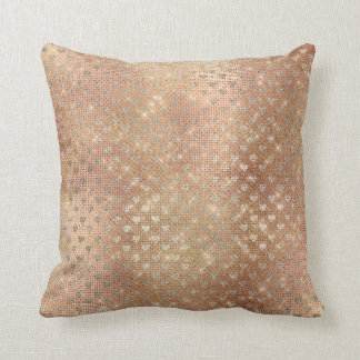 Silver Hearts Pink Gold Metallic Maroon Sepia Throw Pillow