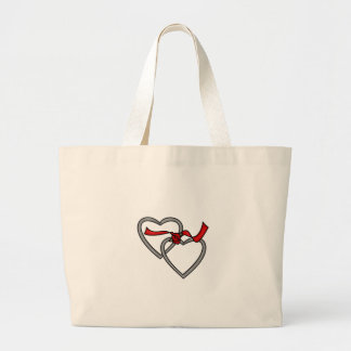 Silver Hearts Red Ribbon Bag