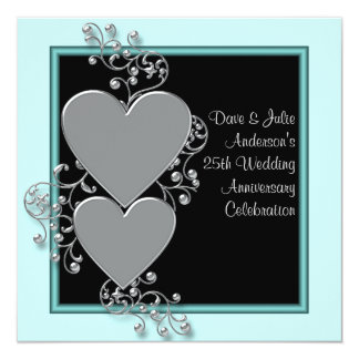 Silver Hearts Teal Silver 25th Anniversary Party Card