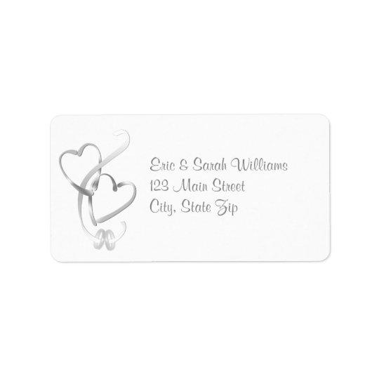 Silver Hearts Wedding Address Labels
