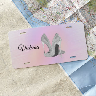 Silver Heels Pastels Personalized License Plate