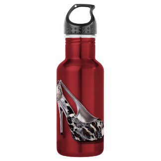 Silver High Heel add Text Animal Print jewel 532 Ml Water Bottle