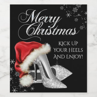 Silver High Heel Shoe Christmas Wine Bottle Labels