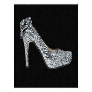 Silver High Heels Customize add Text Letterhead Design