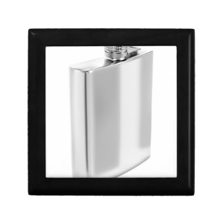 Silver hip flask gift box