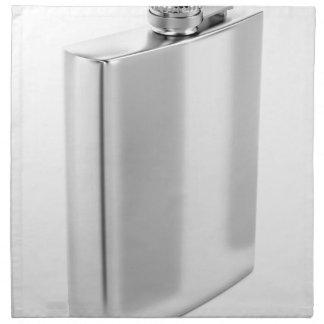 Silver hip flask napkin