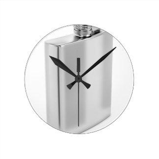 Silver hip flask round clock