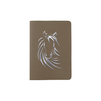 Silver Horse Head Brown Passport Holder