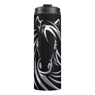 Silver Horse Head Thermal Tumbler