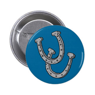Silver Horseshoes 2 Inch Round Button