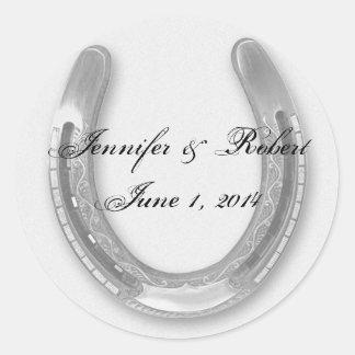 Silver Horseshow on White Wedding Envelope Seal