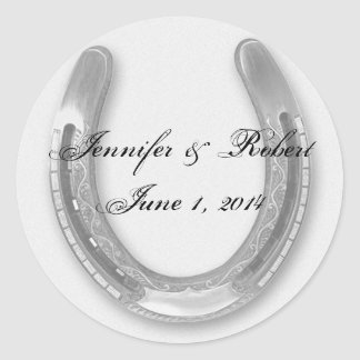 Silver Horseshow on White Wedding Envelope Seal Round Sticker