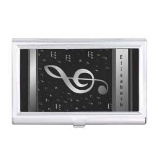 silver in black music notes and name template business card holder