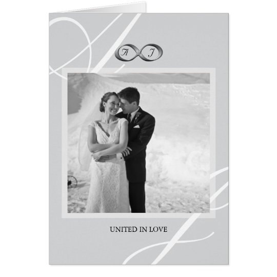 Silver Infinity Hand Clasp Wedding Photo Thank You Card