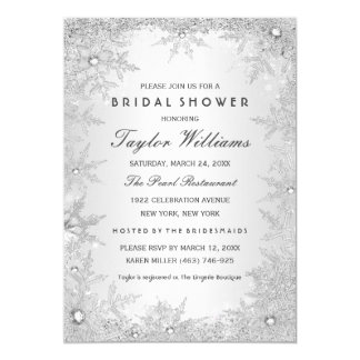 "Silver Jewel Snowflake Bridal Shower 5"" X 7"" Invitation Card"
