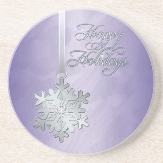 Silver Jewel Snowflake Purple Foil Holiday Coaster