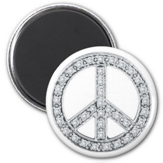 Silver Jewels Peace Sign Magnet