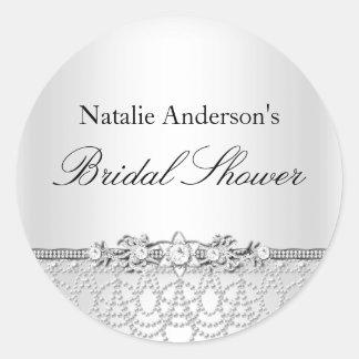 Silver Jewels & Pearls Bridal Shower Sticker