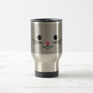 Silver Kitty Cat Cute Animal Face Design Travel Mug