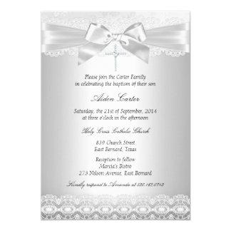 Silver Lace & Cross Baptism Invite