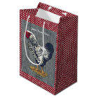 Silver Laced Wyandotte Rooster Barn Boards  Dots Medium Gift Bag