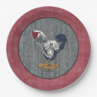 Silver Laced Wyandotte Rooster Barn Boards  Dots Paper Plate