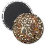 Silver Lady Art Nouveau Vintage Costume Jewellery 2 Inch Round Magnet